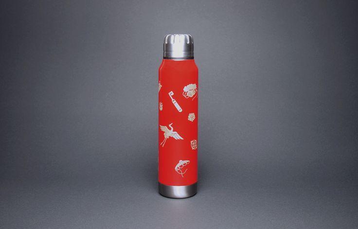 土直漆器×thermo mug URUSHI UMBRELLA BOTTLE TAKARADUKUSHI SHU(漆アンブレラボトル 宝尽くし 朱)