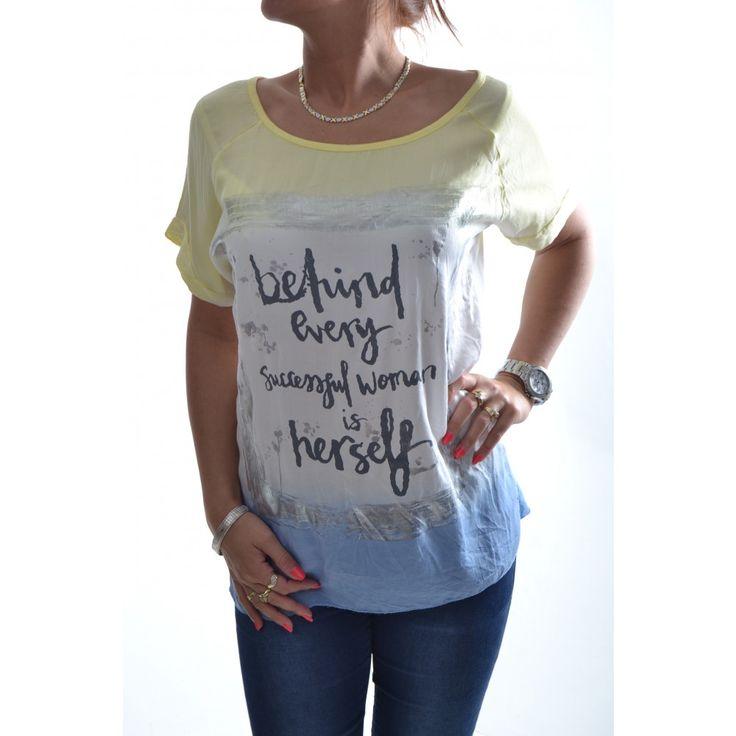 Dámske tričko s nápisom - žlto-bielo-modré