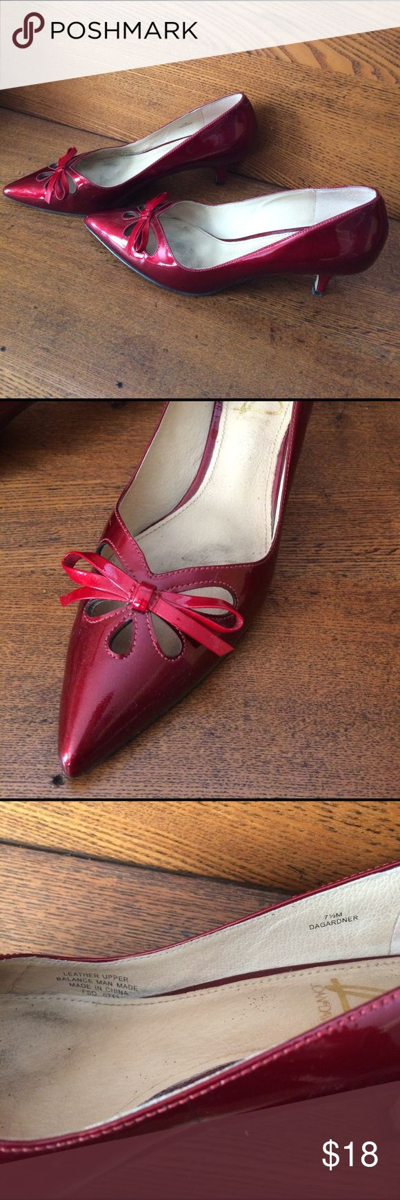 "Joan & David kitten heels. Joan & David Cranberry Patent Leather ""Dagardner"" kitten heel. Some wear which I've tried to highlight with photos. Still a lot of life left in these classics! Beautiful when paired with Navy & White! Joan & David Shoes Heels"