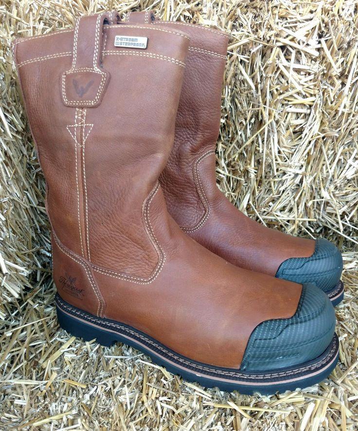 "Thorogood 11"" Brown Wellington Waterproof Composite Toe Pull On Work Boots 804-4286"