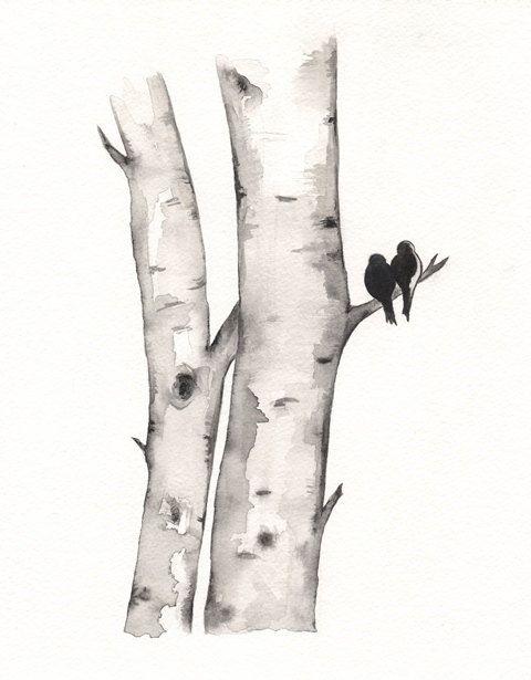 Birch Tree Love No. 1 / Love Birds / Romance / watercolor print / grey / black and white / Archival. $20.00, via Etsy.