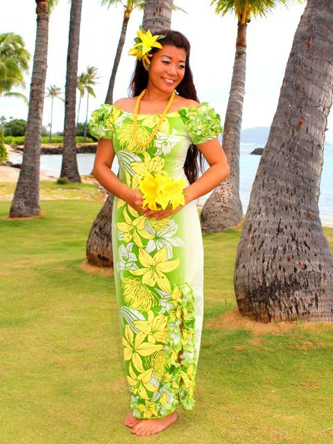 [Exclusive] Naomi Long Slit Dress [Lily / Green] - Stage Costumes - Hula Supply | AlohaOutlet SelectShop