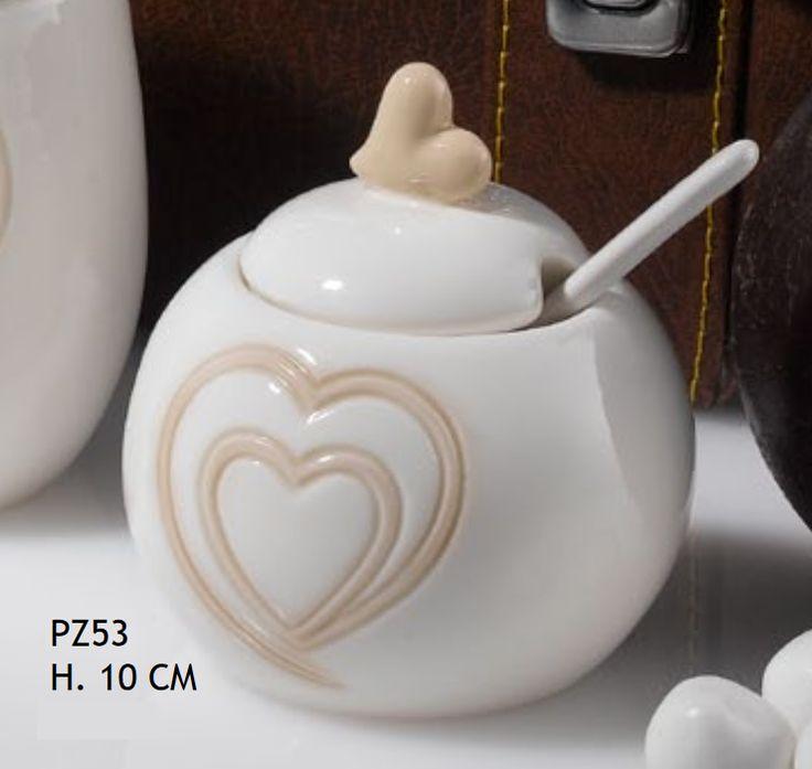 4 PZ Zuccheriera porcellana con cuore BOMBONIERA MATRIMONIO Multicolore