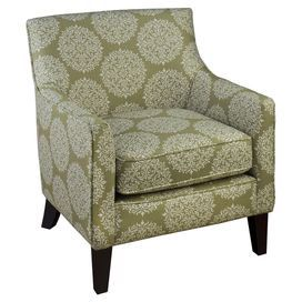 "Arm chair with medallion upholstery and exposed legs.   Product: ChairConstruction Material: Wood and fabricColor: Moss and whiteFeatures: 22"" Seat heightDimensions: 36"" H x 30"" W x 32"" D"