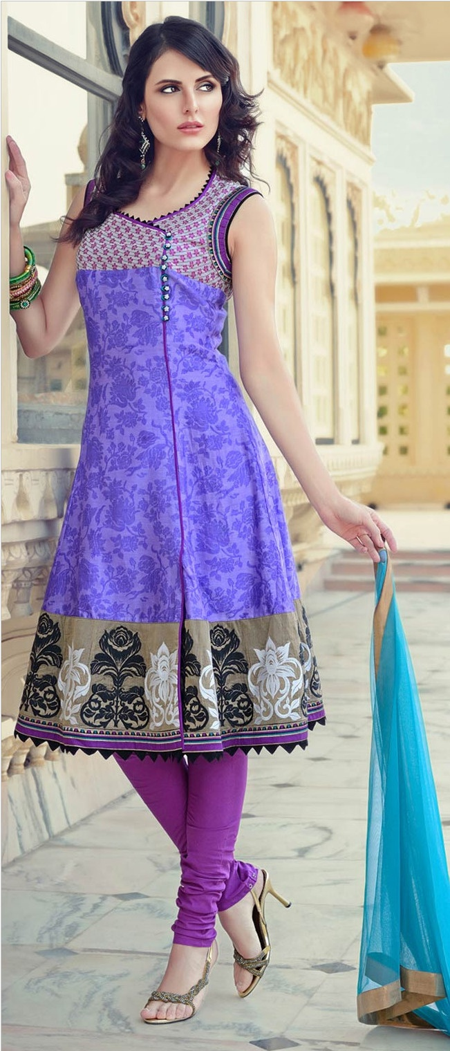 #Lavender Chanderi #Cotton Churidar Kameez @ $145.16