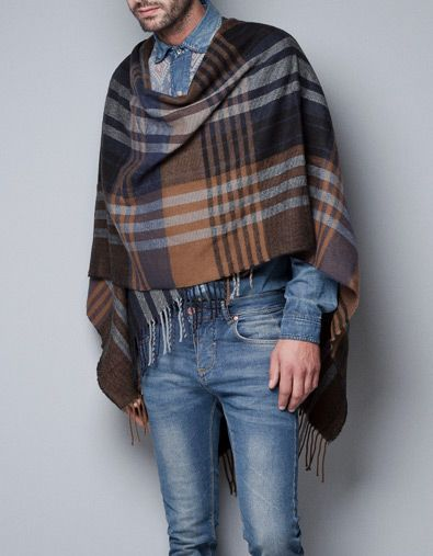 CHECKED PONCHO - Scarves and Foulards - Accessories - Man - ZARA