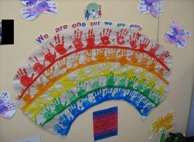 Multicultural hand print rainbow classroom display photo - Photo gallery - SparkleBox