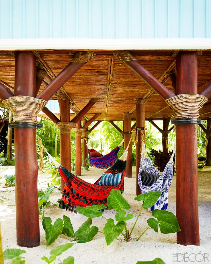 Bright outdoor lounge area with hammocks