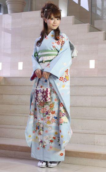 nadesiko | Rakuten Global Market: Long-sleeved kimono rental ceremony set silk capital from Yuzen coming of age ceremony for 20 points set up wedding or formal kimono kimono galumnidae trusting rental renntaru comingof inbetween seizing ski bag bag