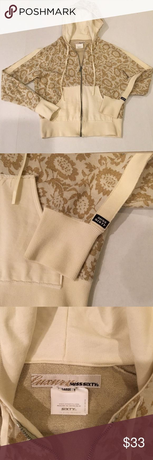 Zip up hoodie in gold brocade.  Fabulous! LUXURY MISS SIXTY zip up hoodie.  This is a fabulous and unique piece! Great condition. Miss Sixty Tops Sweatshirts & Hoodies