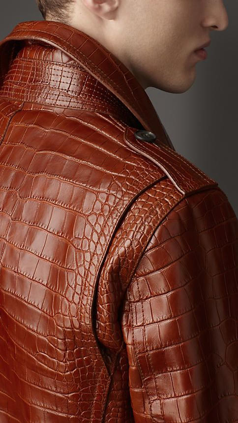 Blouson de motard en cuir d'alligator | Burberry