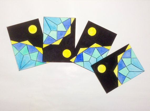 four modular #ACEO #handpainted #OOAK #MITOliberty by #etsy