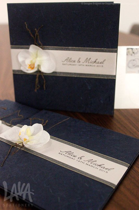 Orchid navy invitations by Lava Stationery