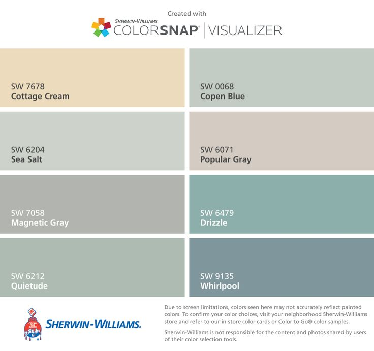 I found these colors with ColorSnap® Visualizer for iPhone by Sherwin-Williams: Cottage Cream (SW 7678), Sea Salt (SW 6204), Magnetic Gray (SW 7058), Quietude (SW 6212), Copen Blue (SW 0068), Popular Gray (SW 6071), Drizzle (SW 6479), Whirlpool (SW 9135).