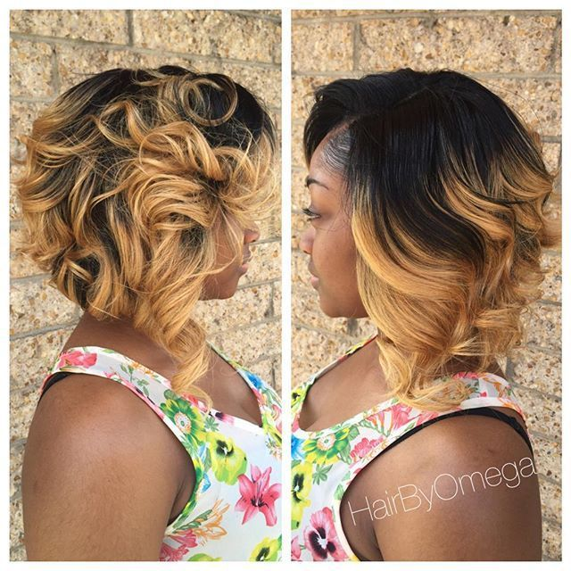 medium dark to blonde ombre messy bob hairstyle for black women