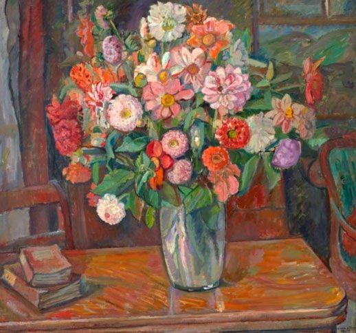 Oluf Wold Torne, Interiør med sommerblomster 1917