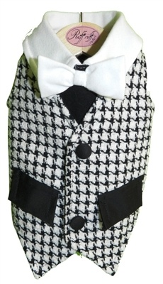 Look dashing in Ruff Ruff Coutures Kalo Vest Made of soft houndstooth  chenielle, this Vest is not only stylish but comfortable as well  Black accent pockets flaps add charm to this look. A white collar and  matching bow tie really top it off Proudly made in the U.S.A.