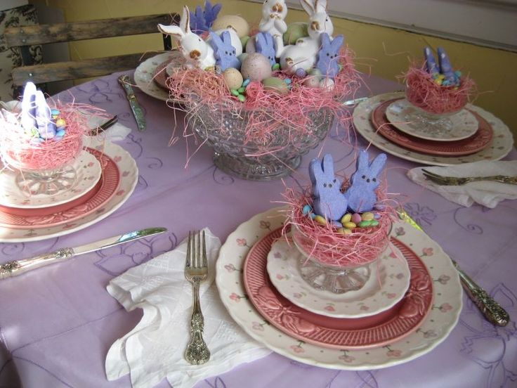 Tablescape using Peeps: Fun Tables, Country Porches, Springtime Easter, Spring Tablescapes, Tables Sets, Tables Sitting, Tablescapes Thursday, Easter Tablescapes, Parties Ideas