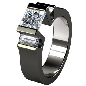 Cathedrale Black Diamond Treated Titanium Engagment Ring