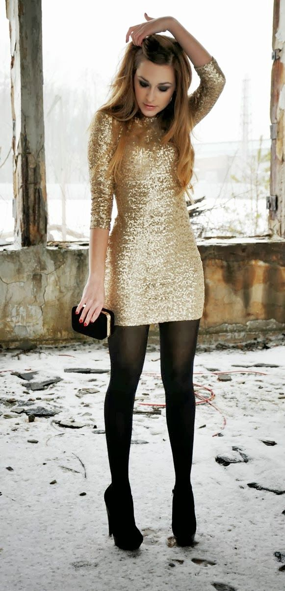 Awesome golden sequence top with black leggings
