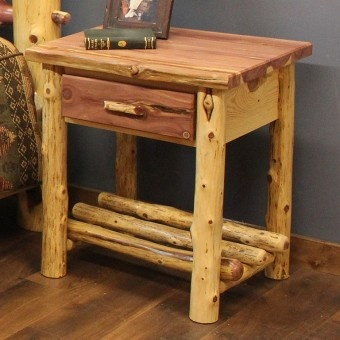 Red cedar log nightstand for the home pinterest red for Furniture 0 interest