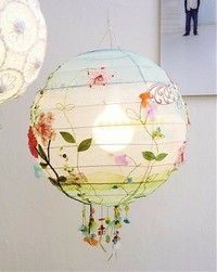 Ikea paper lantern shade with some watercolours and embellishments = enchanting light shade
