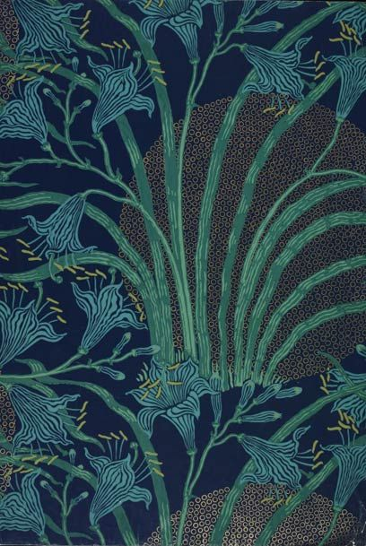 'The Day Lily', Wallpaper, Walter Crane, 1897.