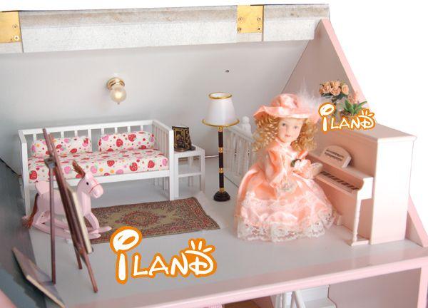 1:12 Pink Villa DIY Big Doll house 3D Miniature Wooden assembled+PVC Window Building model Children Play house toy Gift for BJD