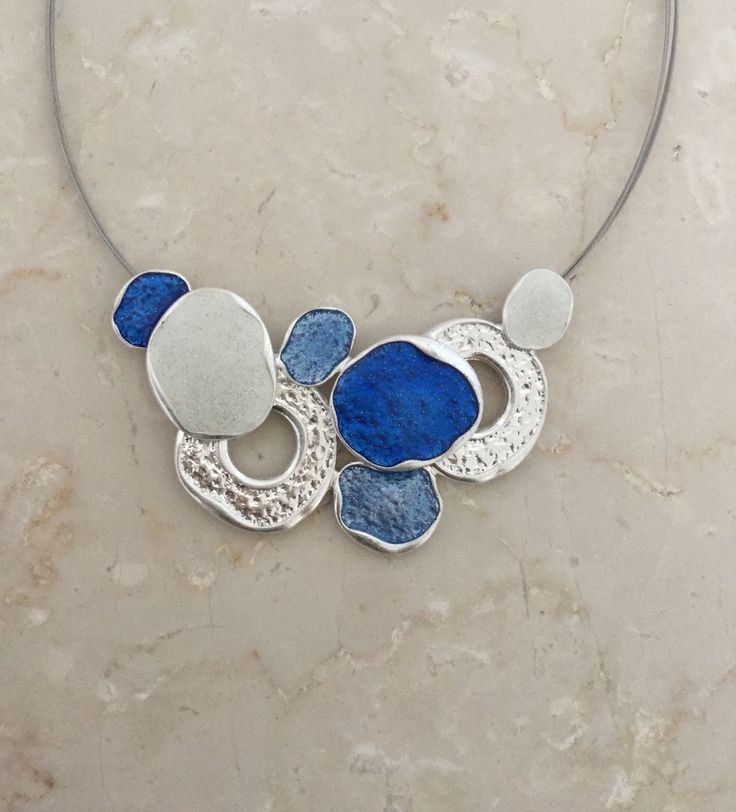 Unique Fashion Jewellery Australia - Blue and White Enamel Ovals Cluster Necklace, $45.00 (http://www.uniquefashionjewellery.com/blue-and-white-enamel-ovals-cluster-necklace/)