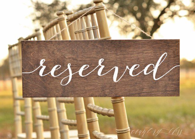Reserved Sign Wedding Table