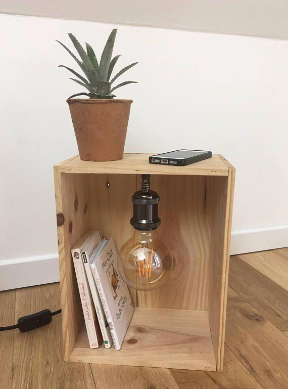 Lampe En Caisse A Vin Avec Ampoule Led Vintage Lamp
