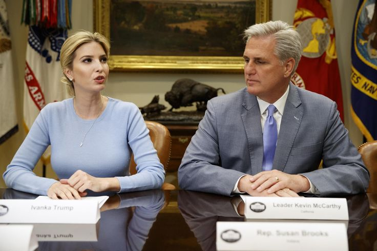 Ivanka Trump led a roundtable about human trafficking with members of Congress at the White House, while her father Donald Trump delivered a commencement address to cadets graduating fromthe US Coast Guard Academy in Connecticut. The meeting, attended by several Democrats and Republicans – including House Majority Leader Kevin McCarthy – seems to be another sign of Ms Trump's quickly growing role in the administration.