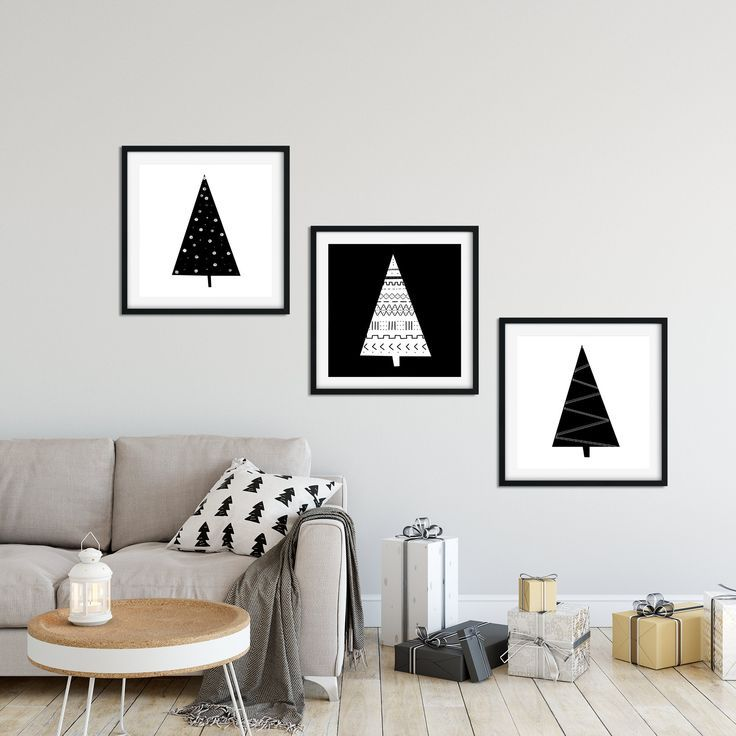 Nordic Christmas 3 Piece Wall Art Christmas Printable Etsy In 2020 Modern Christmas Art White Christmas Decor Modern Christmas Decor