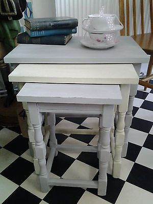 Vintage Shabby Chic Nest of Tables, Side Table set of 3, Coffee Table