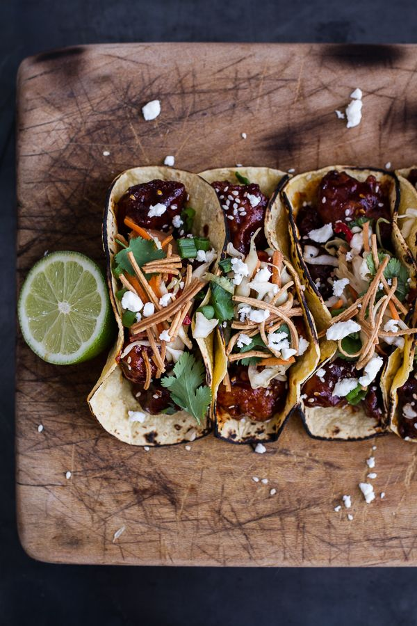 Korean Fried Chicken Tacos with Sweet Slaw, Crunchy Noodles + Queso Fresco…