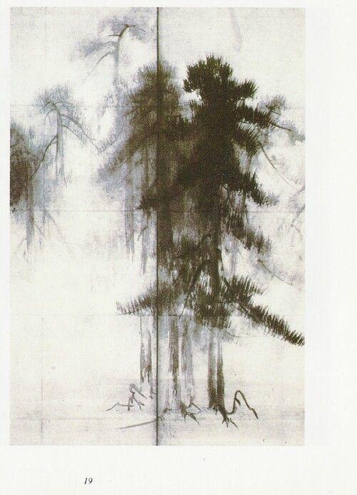 松林図屏風 - 長谷川等伯筆 Pine Trees screen - Tohaku Hasegawa (1539-1616)