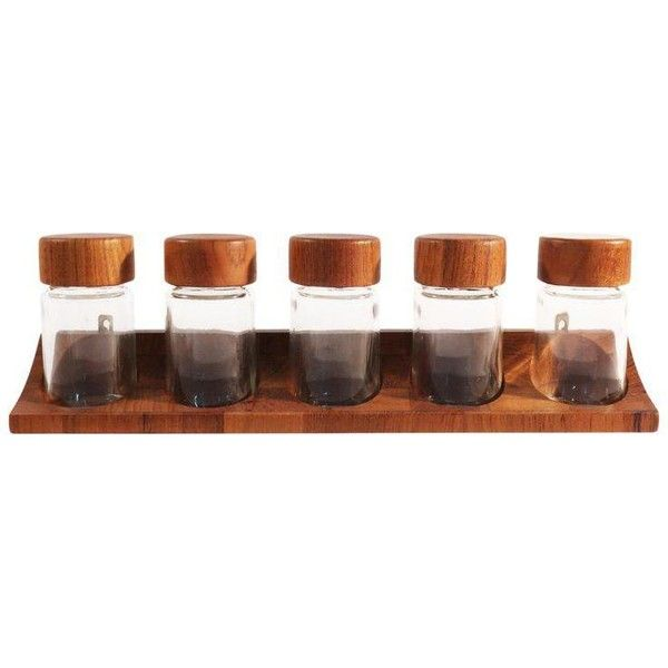 Digsmed Danish Modern Teak Spice Rack & Containers - Set of 6 ($80) ❤ liked on Polyvore featuring home, kitchen & dining, food storage containers, kitchen accessories, spice carousel, spice jars and spice rack