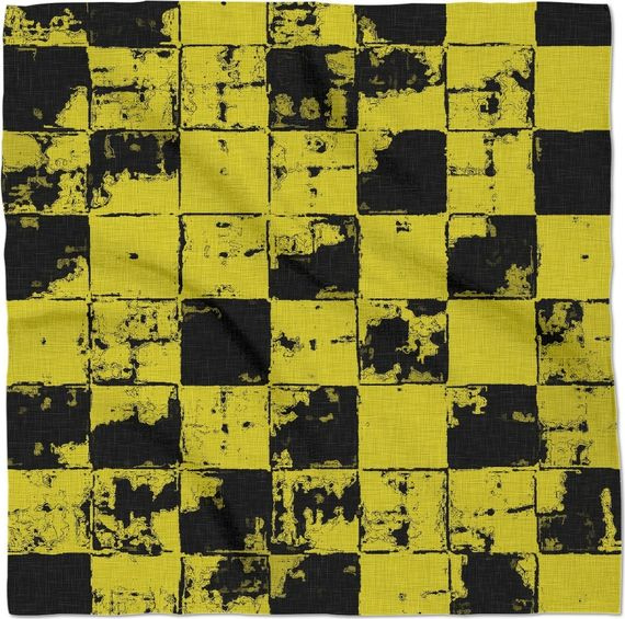 Grunge style black and yellow bricks, buffalo plaid, worker clothing themed, grunge, worn out look squares #art bandana. Item printed by RageOn.com Production Time: 7-10 bus... #erotic #prints #canvas #decor