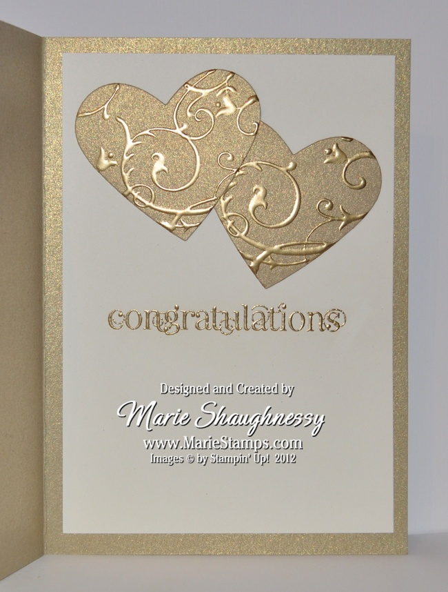 Golden Anniversary Card...gold paper...luv the look of gold embossing on mat gold paper...two hearts + one big sentiment word = lovely clean design...