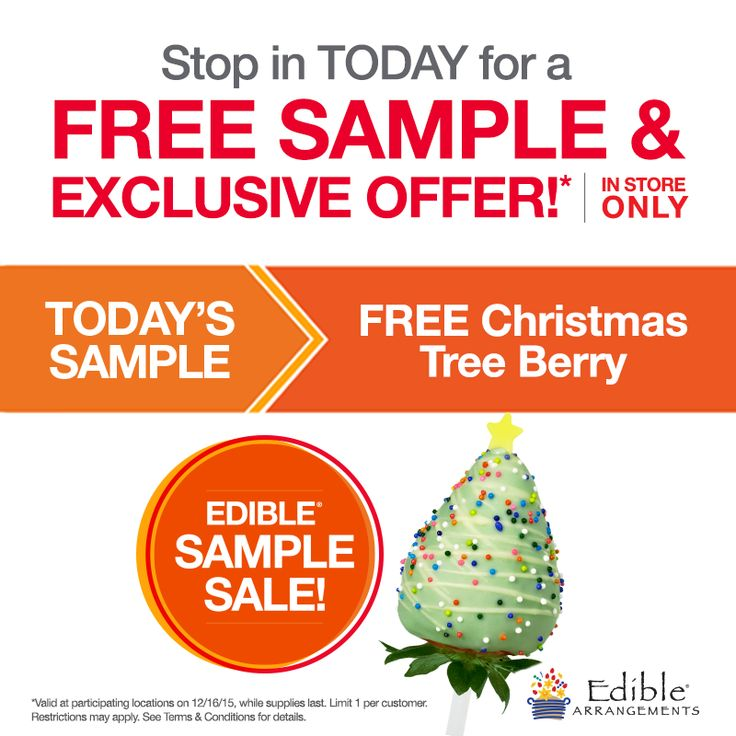 Pinned December 16th: Free #Christmas tree berry today at Edible Arrangements #coupon via The #Coupons App