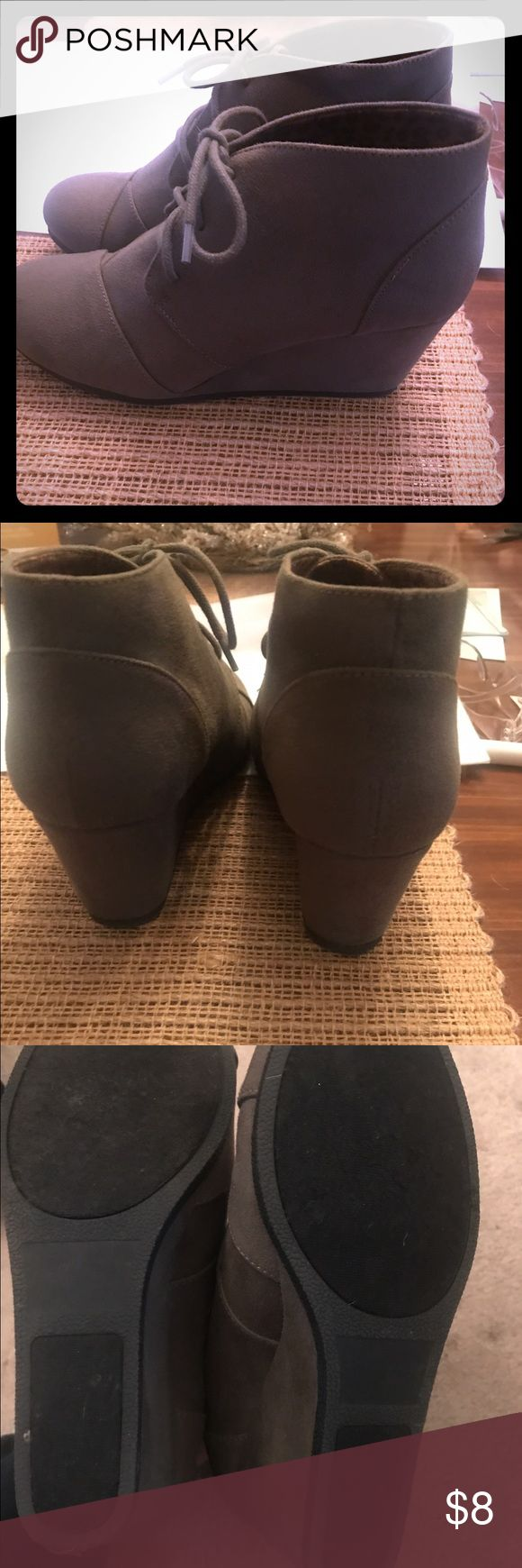 Olive Green wedge booties size 9 Olive Green wedge booties size 9 from Maurice's- excellent condition- they can be compared to the Toms desert wedges Maurices Shoes Wedges
