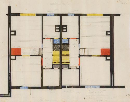 Color design for the upper floor (Composition IV), middle class houses, Drachten. Theo Van Doesburg