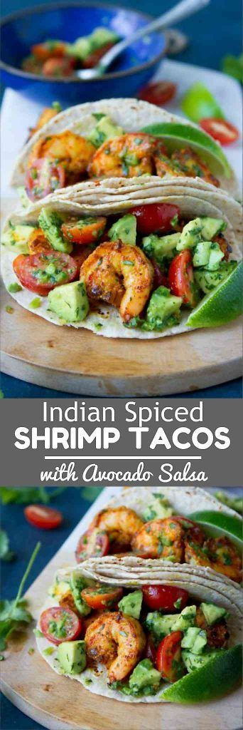 Taco Tuesday recipe inspiration! These Indian Spiced Shrimp Tacos with Avocado Salsa are out of this world. 254 calories and 6 Weight Watchers Freestyle SP