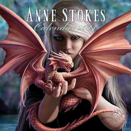 Calendrier 2014 Anne Stokes 12 illustration fées, elfes et dragons