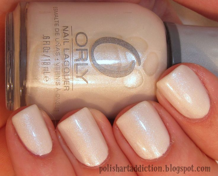 Orly Au Champagne Nails. White. Off White. Simple. Glitter. Wedding. Natural. Nail Art. Fashion.