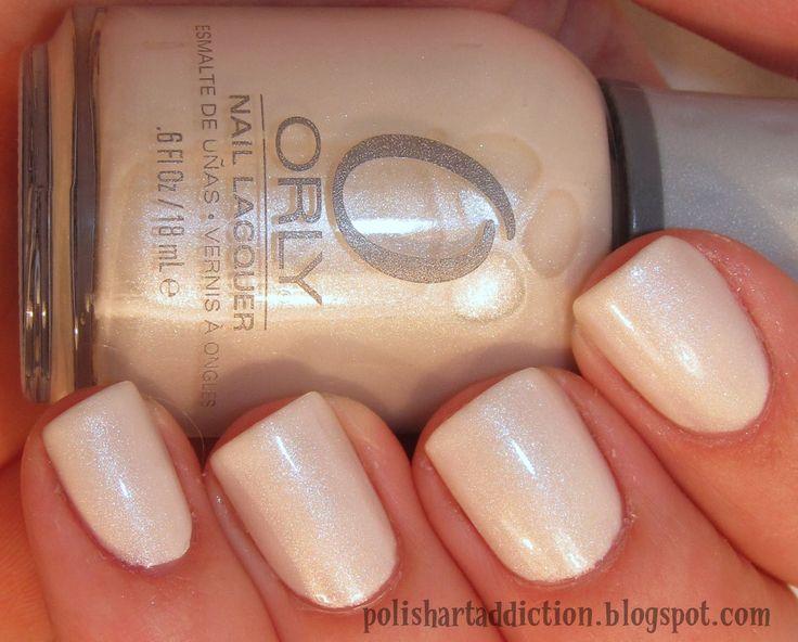 Orly Au Champagne Nails. White. Off White. Simple. Glitter. Wedding. Natural. Nail Art. Fashion. PERFECT WEDDING NAILS!❤️