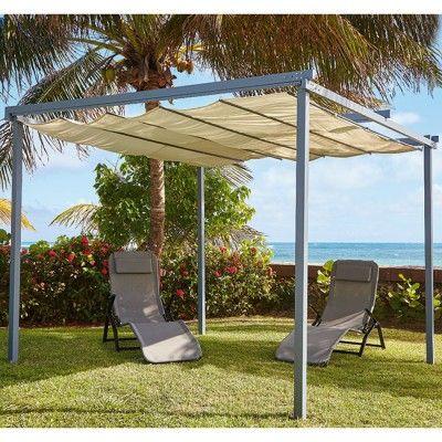 Tonnelle rétractable carrée beige - Tonnelle / Pergola - Mobilier de jardin - Jardin / Plein Air | GiFi