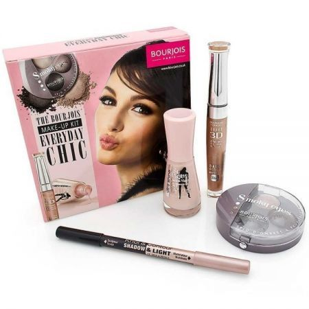 Kit Make-up BOURJOIS EveryDay Chi Descriere Kit-ul contine: 1. Creion de ochi Khol&Contour in nuanta 73 Gris Ingenieu 2. Paleta 3 farduri Smokey Eyes Trio 3