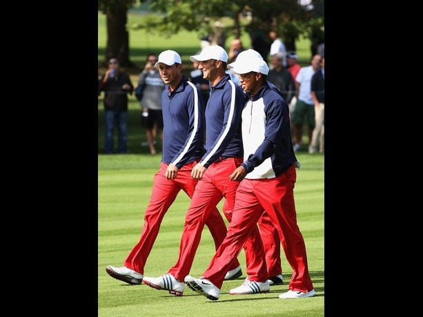 GET THIS LOOK NOW @ eleveegolf,com  MEDINAH, IL - SEPTEMBER 26: (L-R) Matt Kuchar, Dustin Johnson, Steve Stricker and Tiger Woods of the United States walk the course during the third preview day of The 39th Ryder Cup at Medinah Country Golf Club on September 26, 2012 in Medinah, Illinois.  Credit: Andy Lyons/Getty Images  Date: September 26, 2012