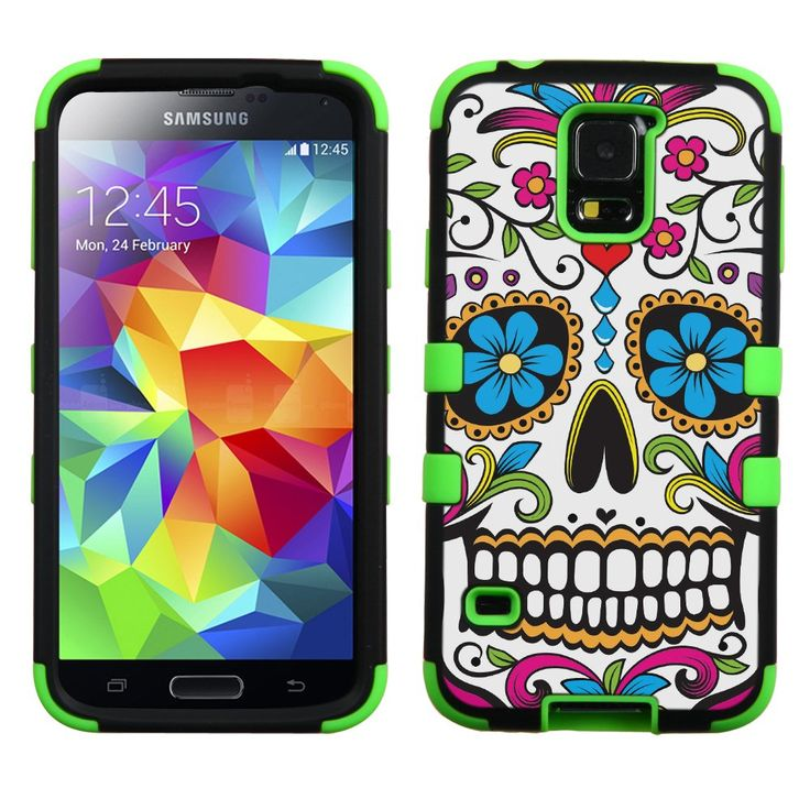 UNQUITI SAMSUNG GALAXY S5 S 5 V Case - TuMax Hybrid Case Cover(GREEN) - DESIGN (Sugar Skull). Compatibility - Made for SAMSUNG GALAXY S5, Carrier - AT&T/SPRINT/VERIZON/T-MOBILE/METROPCS/VIRGIN MOBILE/BOOST MOBILE. Hard plastic case layer provides fit and strong protection. Silicone inner layer provides shock resistant and better grip on hand. Buttons, camera, LCD screen and connectors accessible with case installed. Custom made fit the particular phone model perfectly.
